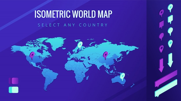 World map isometric illustration