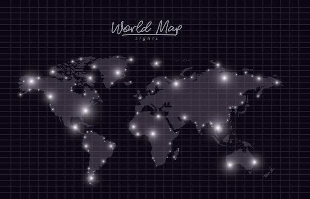 ブラックメッシュシルエットの世界地図ライト