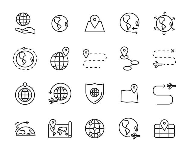 World map line icon set