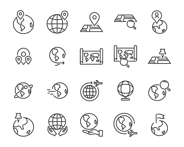World map line icon set