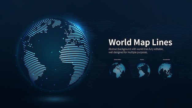 World map lines abstract illustration