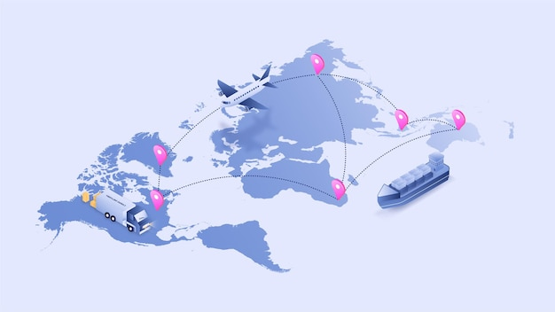 비행기 트럭 및 배송 3d 아이소 메트릭 그림 벡터를 통한 세계지도 물류 추적 프로세스