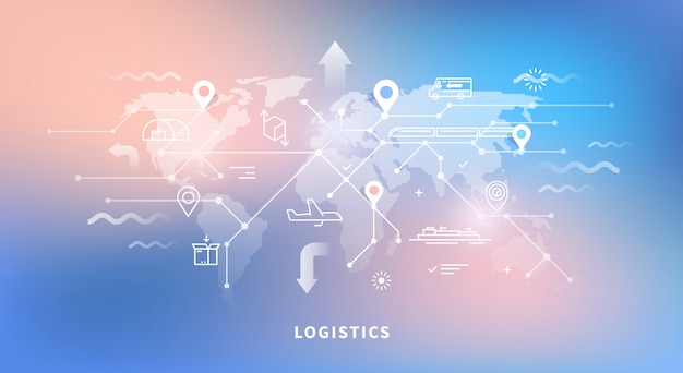World map of logistics