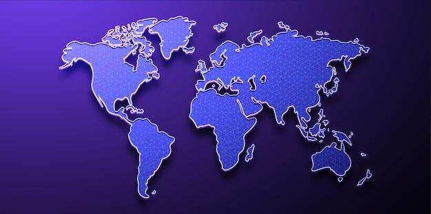 世界地図、低ポリゴン