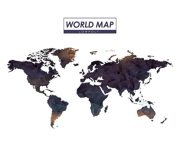 カラフルなシルエットの世界地図低ポリゴン