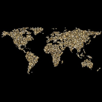 Dotted world map vectors photos and psd files free download world map made of small golden dots gumiabroncs Choice Image