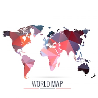 World map made with geometric shapes