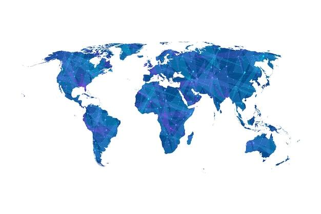 Концепция сетевого подключения карта мира. визуализация больших данных. социальное сетевое общение в глобальных компьютерных сетях. интернет-технологии. бизнес. наука. векторная иллюстрация.