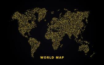 Карта мира золотых блесток
