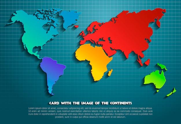 大陸の世界地図。ベクトルイラスト。地図と背景