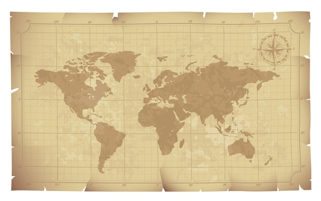 World map on old paper illustration