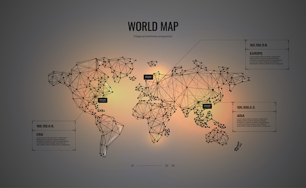 World map in polygonal wireframe style