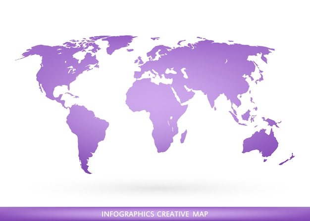 World map in purple color