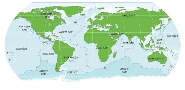 지각 판 경계를 보여주는 세계지도
