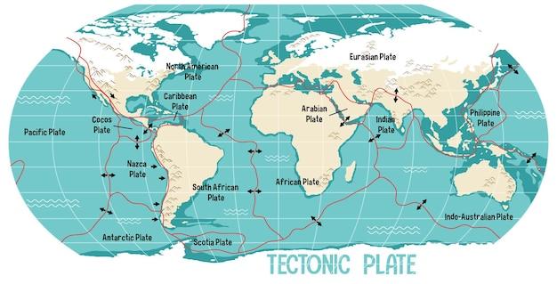 Карта мира с указанием границ тектонических плит