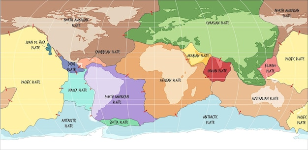 World map showing tectonic plates boundaries