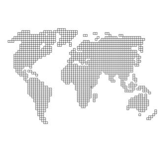 正方形の黒いパターンのモザイク構造から世界地図のシルエット。ベクトルイラスト。