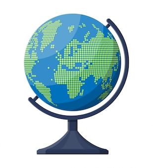 Силуэт карты мира. глобус в точках.