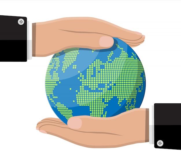 Карта мира силуэт. глобус в руке