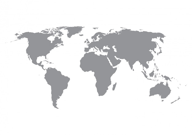 World map silhouette in grey isolated on white.