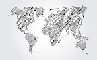 World map outline vectors photos and psd files free download world map sketch on white background gumiabroncs Gallery