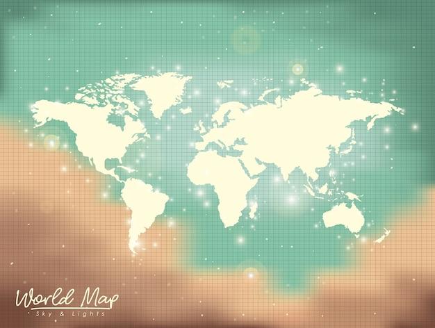世界地図の空と光