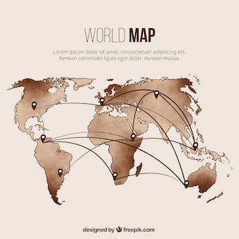 World map template with pins