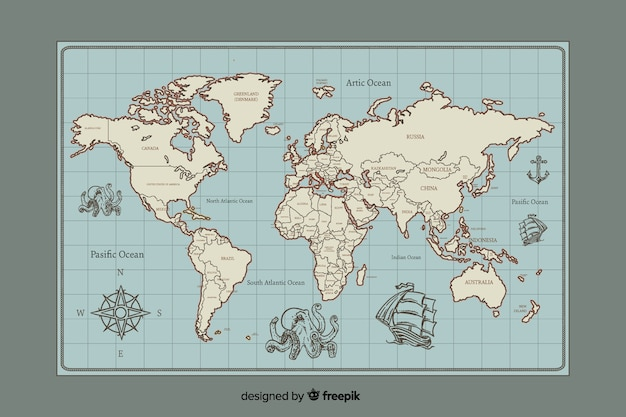 World map  vintage digital design