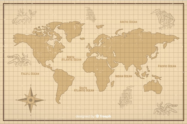 World map in vintage digital style