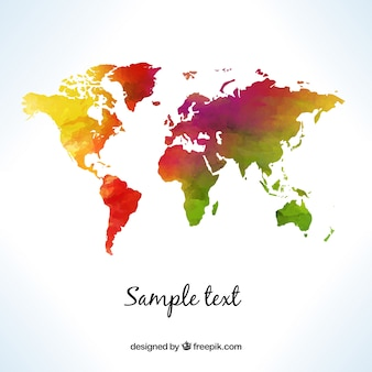 World map in watercolor style Free Vector