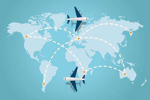 世界地図の破線トレース線と飛行機飛行機。旅行のコンセプト。ベクトル図