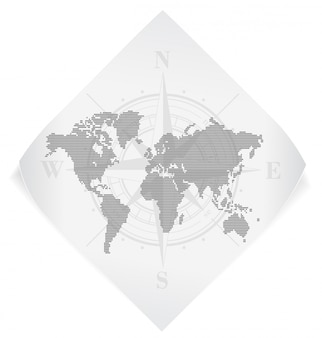 World map over white paper sticker isolated on white