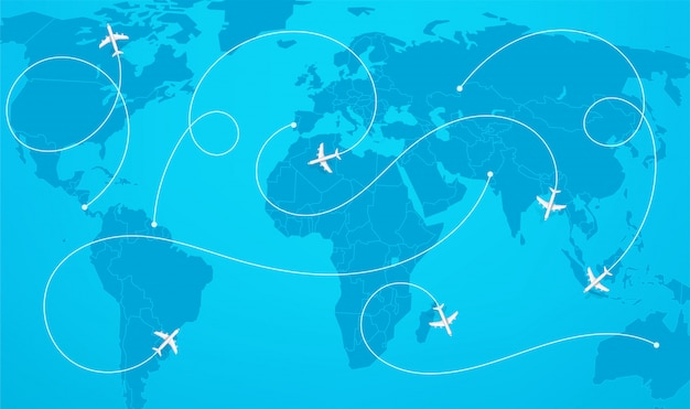 World map with aircraft paths vector illustration