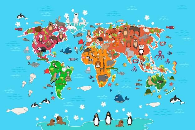 動物のいる世界地図。サルとハリネズミ、クマとカンガルー、ノウサギのオオカミのパンダとペンギンとオウム。漫画スタイルの動物の世界地図ベクトルイラスト