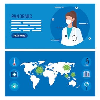 World map with coronavirus particles and female doctor banner set