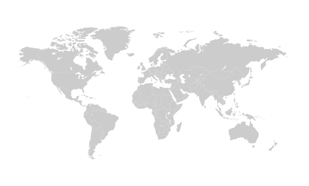 World map with countries borders.
