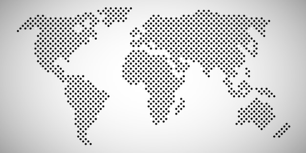 World map with dots