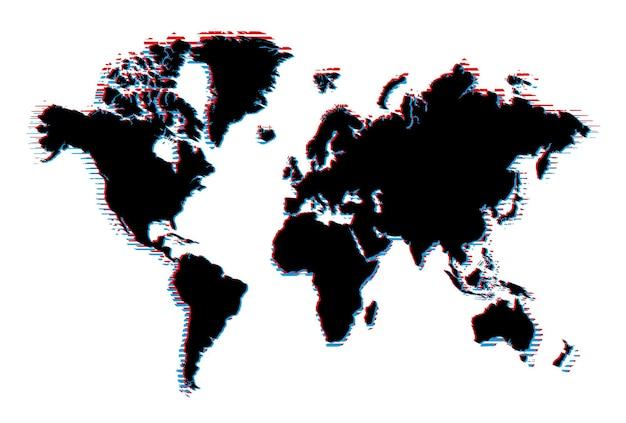 흰색 배경에 결함 효과가 있는 세계 지도입니다.