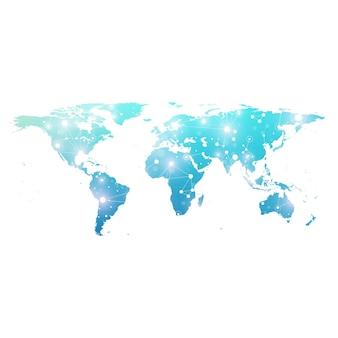 글로벌 기술 네트워킹 개념이 있는 세계 지도. 디지털 데이터 시각화. 라인 신경총. 빅 데이터 배경 통신. 과학적 벡터 일러스트 레이 션.