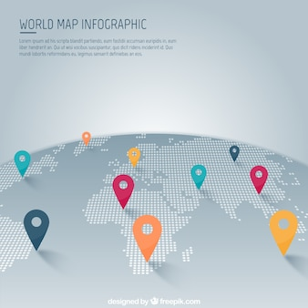 World map with pointer infographic