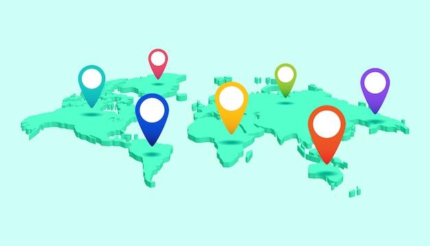 大陸および国のポインターラベルを持つ世界地図。