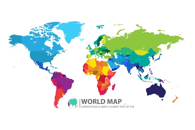 World map with selected countries infographic design template