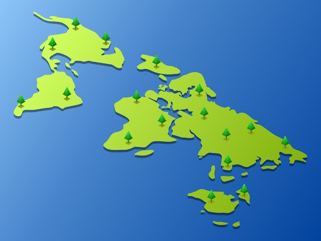 World map with some trees on it