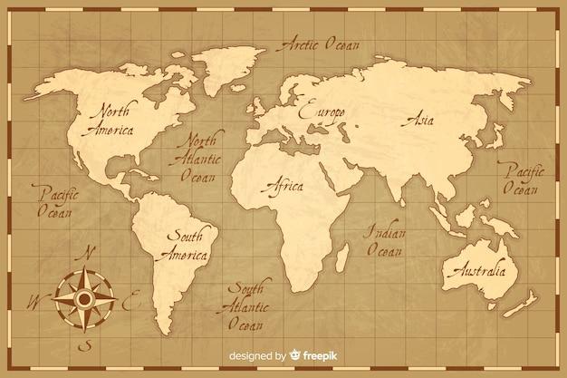 Карта мира в винтажном стиле