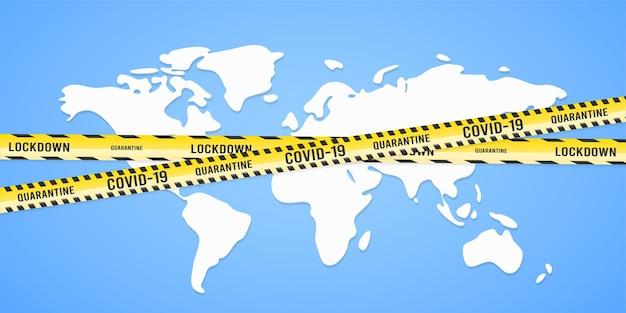 警告テープコロナウイルスの概念と世界地図