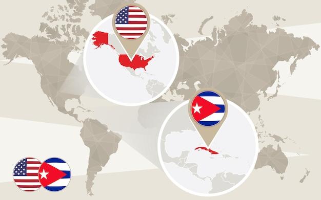 미국, 쿠바에 세계 지도 확대. 벡터 일러스트 레이 션.