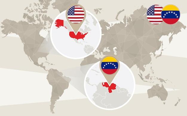 Увеличение карты мира на сша, венесуэлу. векторные иллюстрации.