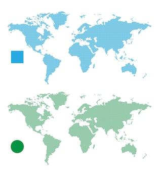 World maps abstract rectangle and dot