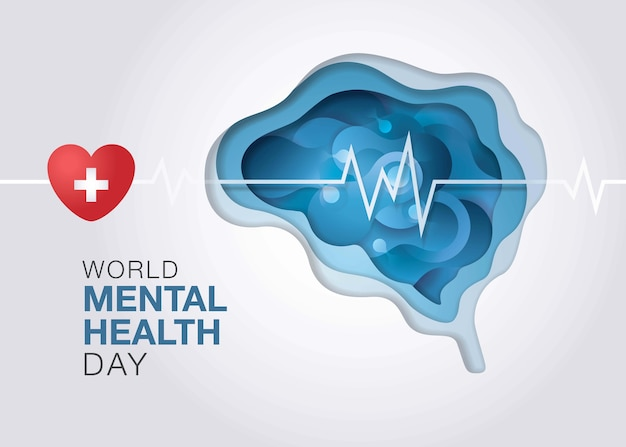 Всемирный день психического здоровья, абстрактная форма жидкой жидкости на форме мозга, энцефалография мозга.