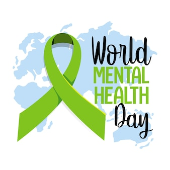 World mental health day banner or logo isolated on white background